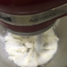 Creaming together the butter and sugar in my KitchenAid mixer