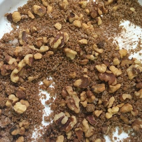 Toasted walnuts, sugar and cinnamon