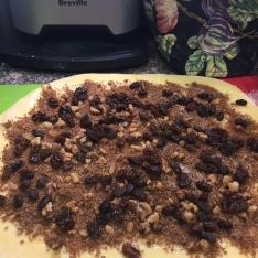 Rum soaked raisins complete the filling