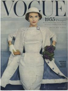 Image from 1955 Vogue Magazine cover featuring Pierre Balmain ensemble